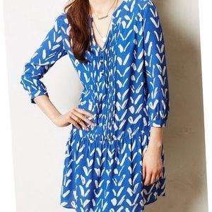 Anthropologie blue drop waist shift dress